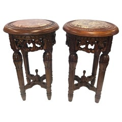 Chinese Round Carved Marble-Top Pedestal Tables Plant Stands
