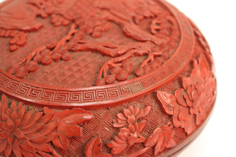 Chinese Round Cinnabar Box with Carved Scene of Five Scholars in a Garden For Sale 5