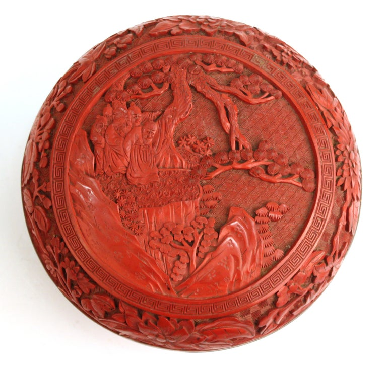 Chinese Export Chinese Round Cinnabar Box with Carved Scene of Five Scholars in a Garden For Sale
