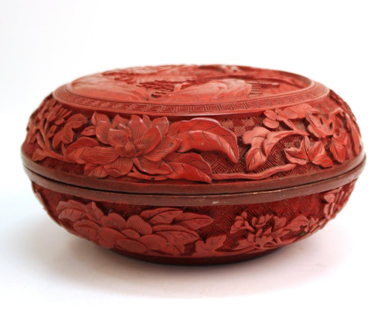 Lacquer Chinese Round Cinnabar Box with Carved Scene of Five Scholars in a Garden For Sale