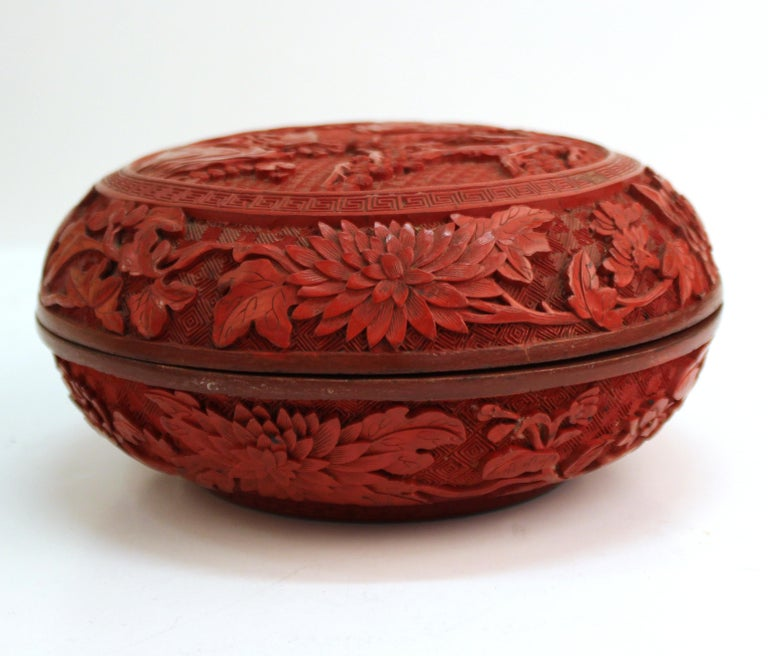 Chinese Round Cinnabar Box with Carved Scene of Five Scholars in a Garden For Sale 1