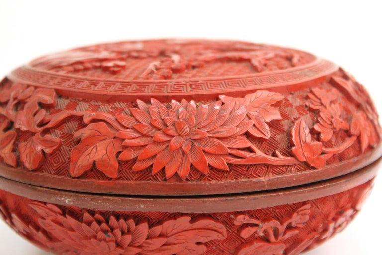 Chinese Round Cinnabar Box with Carved Scene of Five Scholars in a Garden For Sale 2