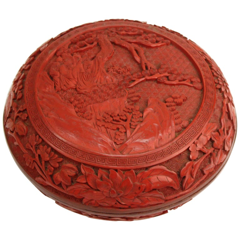 Chinese Round Cinnabar Box with Carved Scene of Five Scholars in a Garden For Sale
