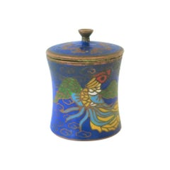 Chinese Round Cloissone Enamel and Brass Box