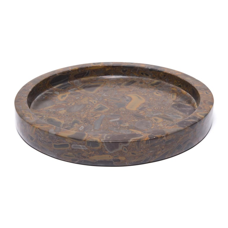 Chinese Round Puddingstone Tray For Sale