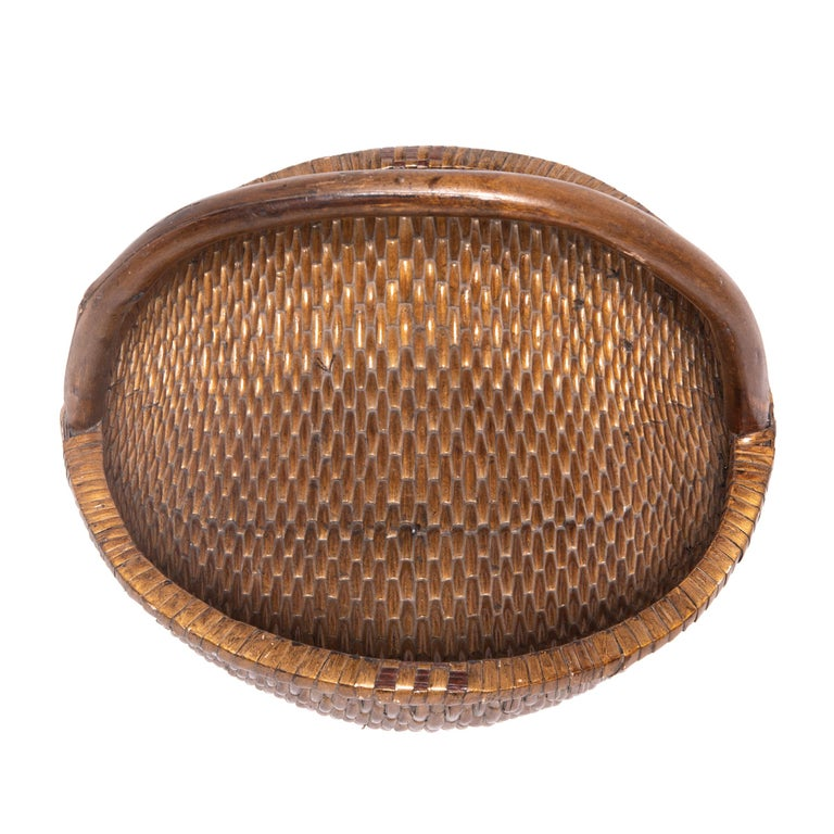 20th Century Chinese Round Woven Basket with Handle For Sale