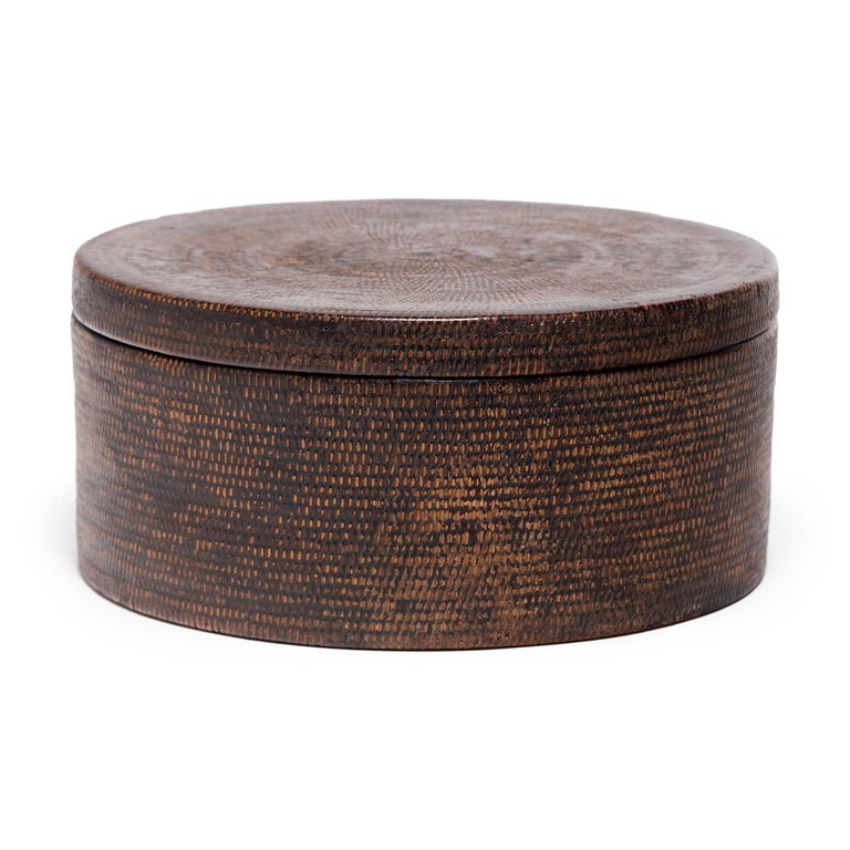 Chinese Round Woven Hat Box, circa 1850 In Good Condition For Sale In Chicago, IL