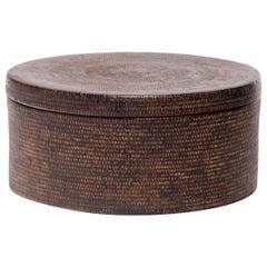 Chinese Round Woven Hat Box, circa 1850