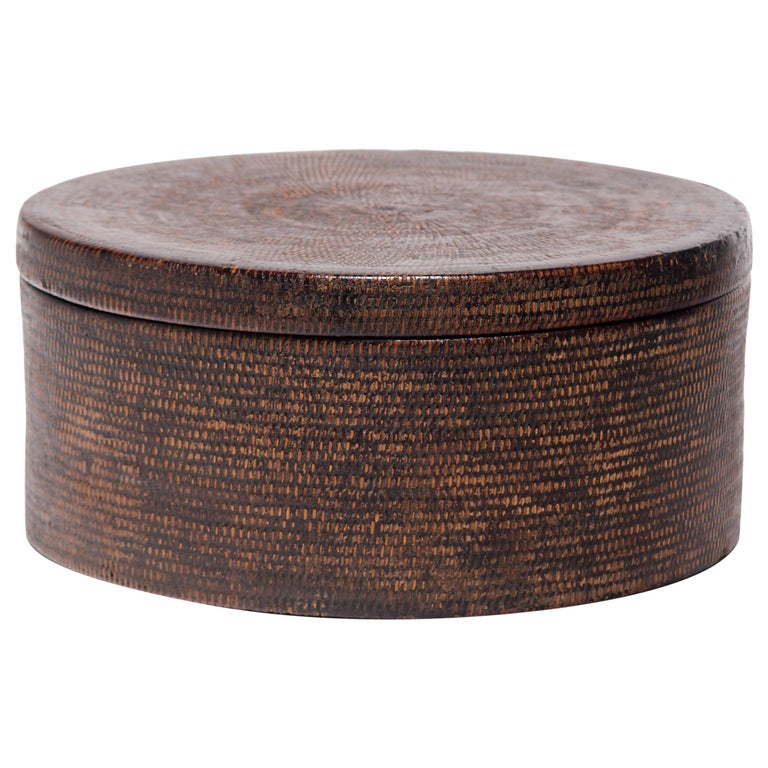 Chinese Round Woven Hat Box, circa 1850 For Sale