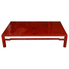 Chinese Rubbed Red Lacquer Cocktail Table