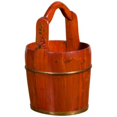 Chinese Rustic Wooden Bucket with Large Handle and Painted Floral Motifs