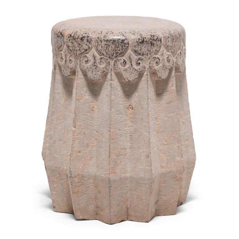 Carved Chinese Ruyi Limestone Drum Stool, circa 1900 For Sale