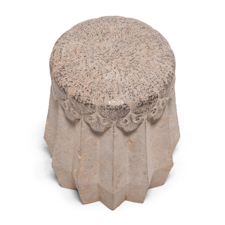 Chinese Ruyi Limestone Drum Stool, circa 1900 In Good Condition For Sale In Chicago, IL