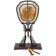 Chinese Sandalwood Screen in Fan Shape on Stand