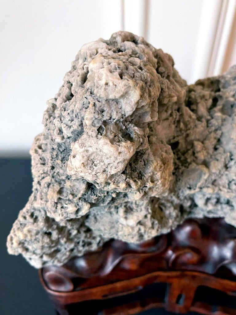Chinese Scholar Rock Kun Stone on Display Stand For Sale 10