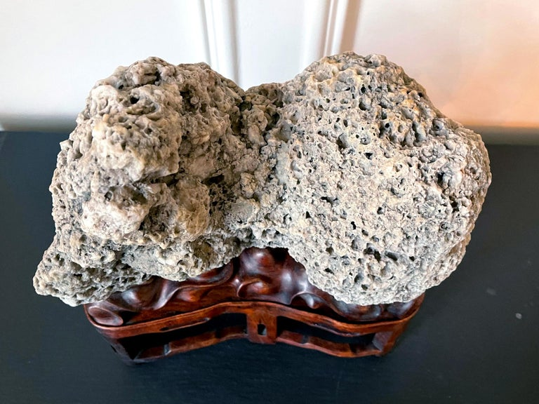 Chinese Scholar Rock Kun Stone on Display Stand For Sale 11