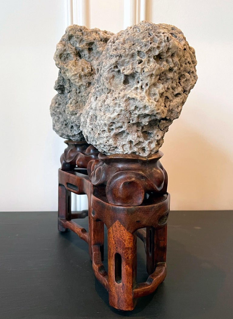 Chinese Scholar Rock Kun Stone on Display Stand In Good Condition For Sale In Atlanta, GA