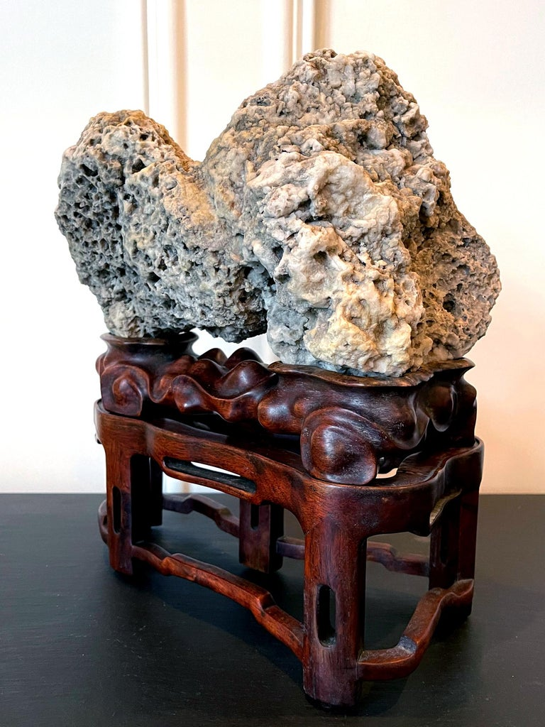 20th Century Chinese Scholar Rock Kun Stone on Display Stand For Sale