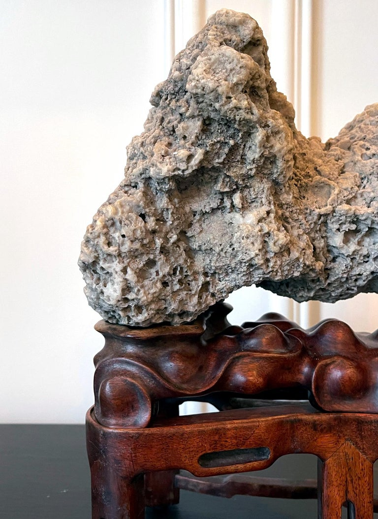 Chinese Scholar Rock Kun Stone on Display Stand For Sale 1