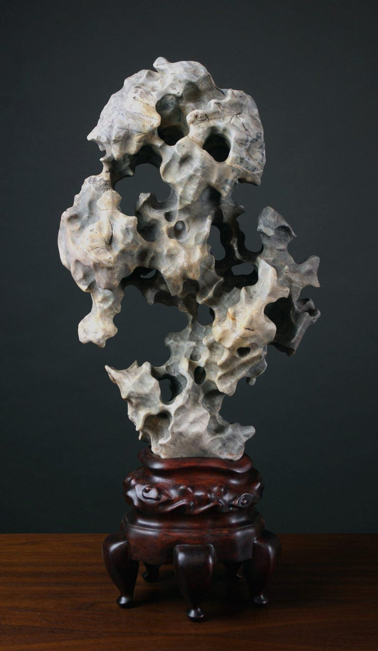 Chinese Scholar Taihu Rock on Stand For Sale 5