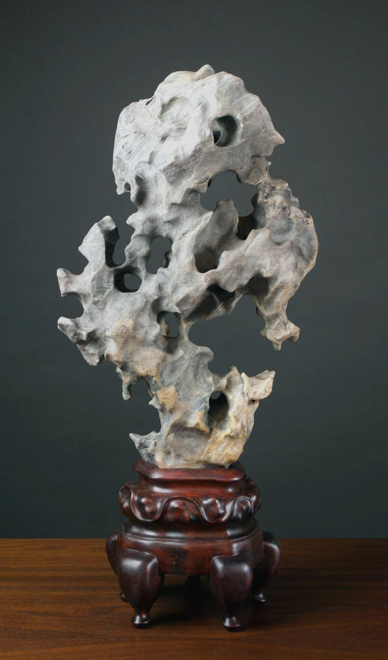 Chinese Scholar Taihu Rock on Stand For Sale 6