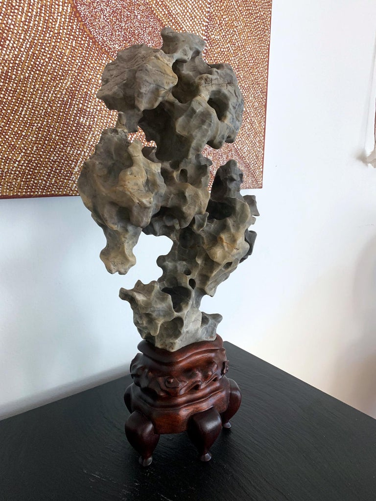 Chinese Scholar Taihu Rock on Stand In Good Condition For Sale In North Miami, FL