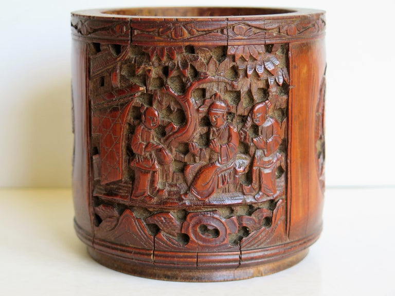 Chinese Scholars Bamboo Brush Pot or Bitong Finely Carved Signed, 19thC. Qing For Sale 6