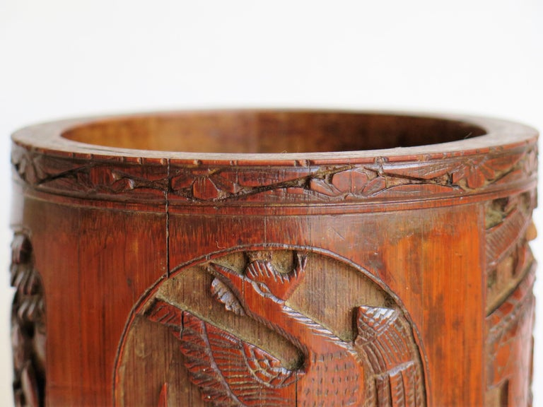 Chinese Scholars Bamboo Brush Pot or Bitong Finely Carved Signed, 19thC. Qing For Sale 10