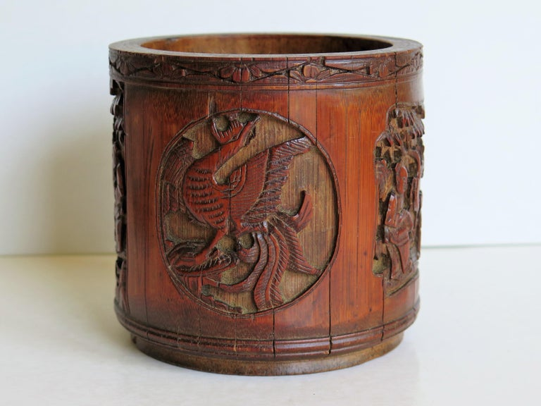 19th Century Chinese Scholars Bamboo Brush Pot or Bitong Finely Carved Signed, 19thC. Qing For Sale