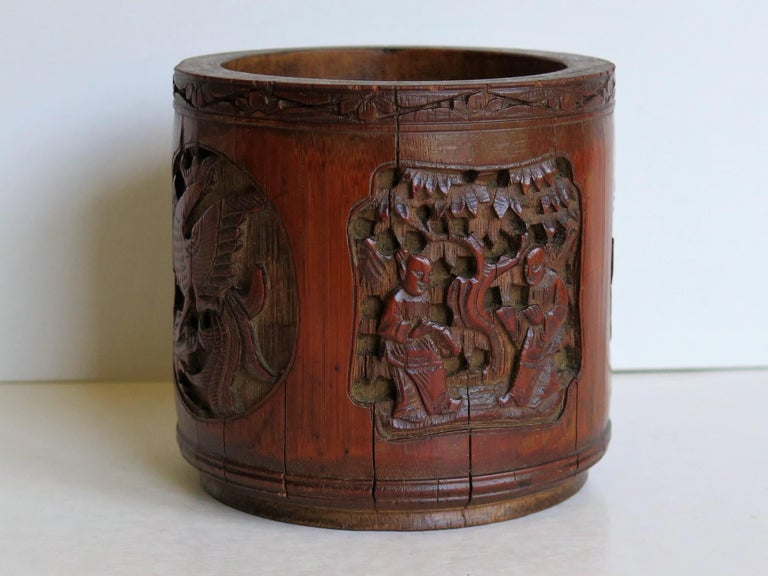 Wood Chinese Scholars Bamboo Brush Pot or Bitong Finely Carved Signed, 19thC. Qing For Sale