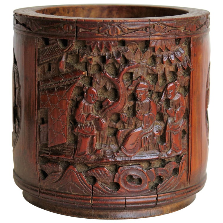 Chinese Scholars Bamboo Brush Pot or Bitong Finely Carved Signed, 19thC. Qing For Sale