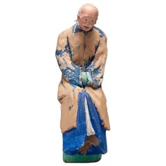 Chinese Sculptured and Painted Clay Figure of an Elderly Man, 19th Century