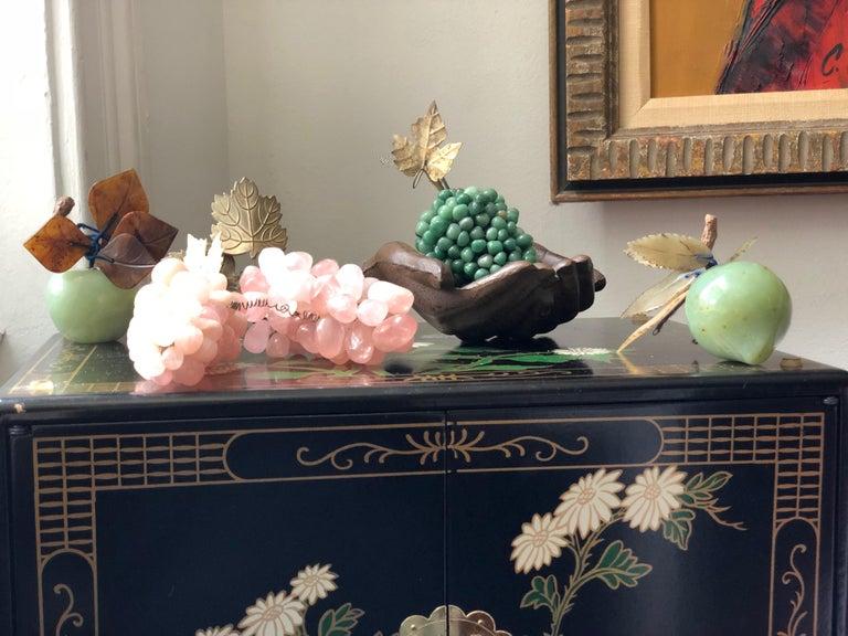 Mid-Century Modern Chinese Semi-Precious Hardstone and Jade Fruit Fortune Collection, Quartz For Sale