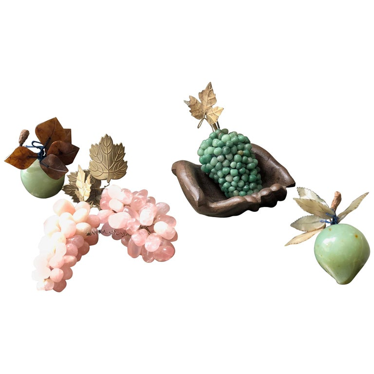 Chinese Semi-Precious Hardstone and Jade Fruit Fortune Collection, Quartz For Sale