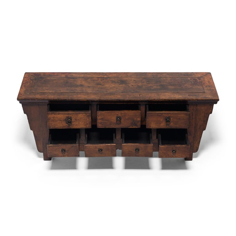 Elm Chinese Seven Drawer Kang Cabinet, c. 1850 For Sale