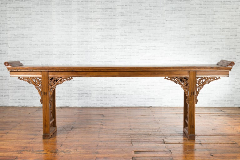 Carved Chinese Shandong Province Early 20th Century Long Elm Altar Console Table For Sale