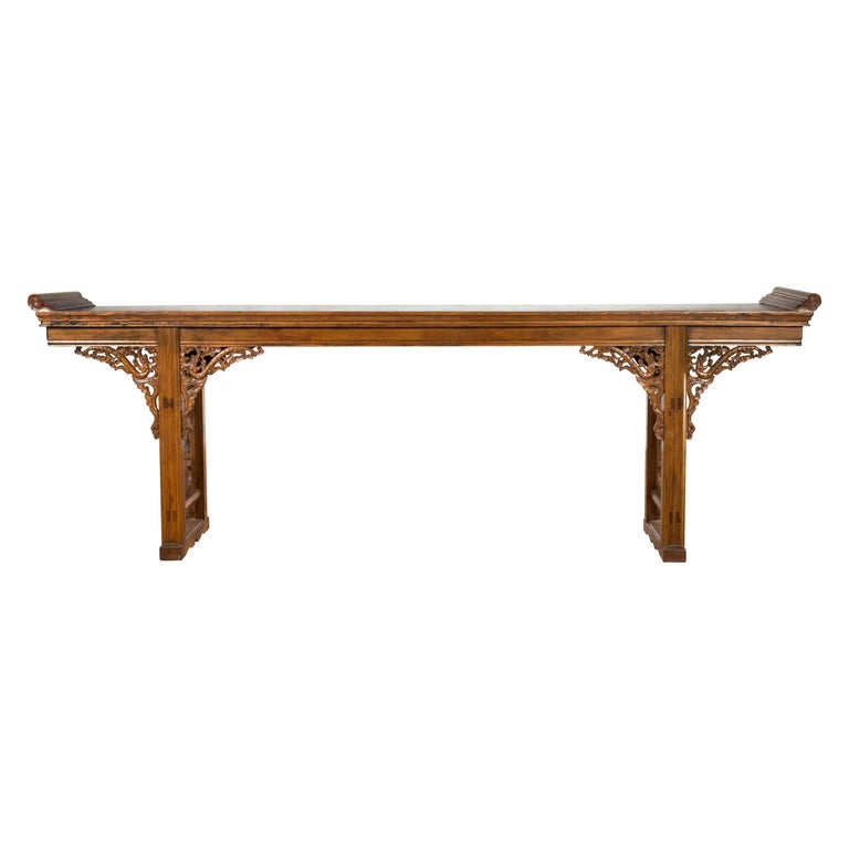 Chinese Shandong Province Early 20th Century Long Elm Altar Console Table For Sale