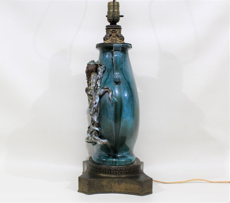 Chinese Shiwan Figural Pottery Lamp For Sale 7
