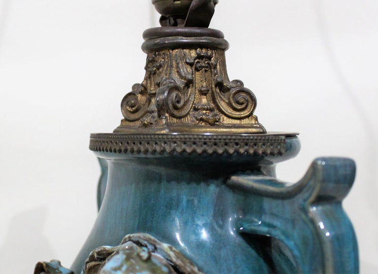 Chinese Shiwan Figural Pottery Lamp For Sale 3