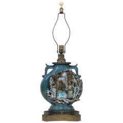 Chinese Shiwan Figural Pottery Lamp