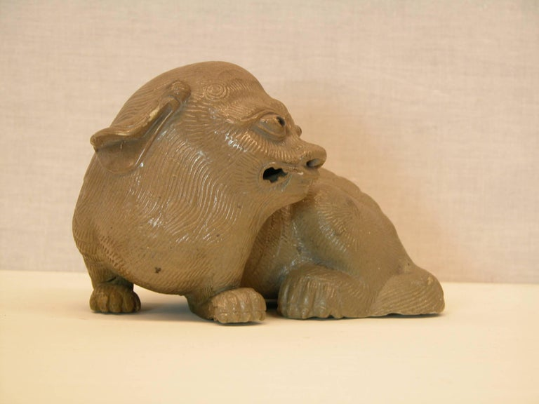 Glazed Chinese Shiwan Pottery Ornamental Guardian Lion, Mid-20th Century For Sale