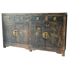 Chinese Sideboard Cabinet, Original Paint, Black Lacquer, 19th Century, Storage