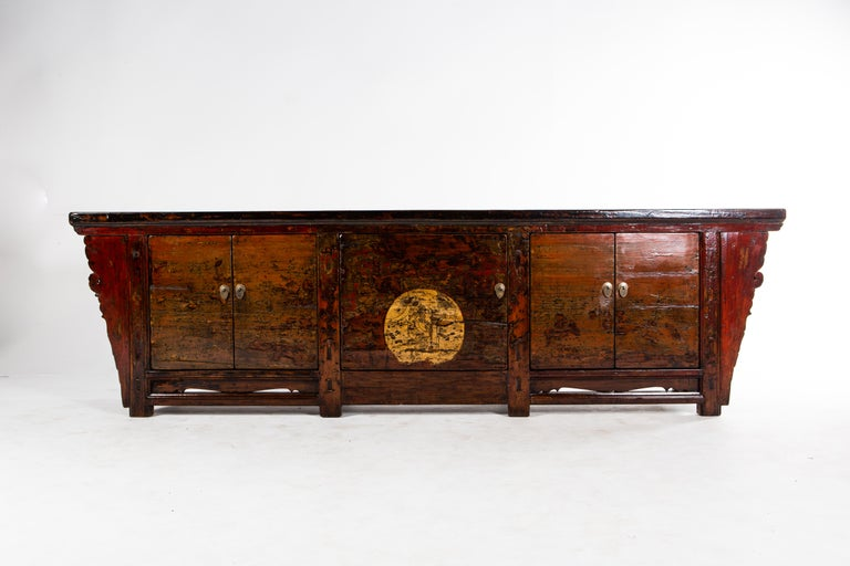Elm Chinese Sideboard with Three Pairs of Doors For Sale