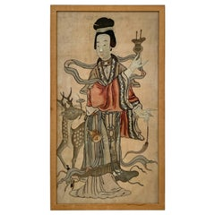 Chinese Silk Embroidered Panel of a Female Immortal, Qing Dynasty, 19th Century