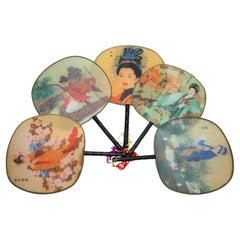 Chinese Silk Round Paddle Fans, Hand Fan with Geisha Woman Design