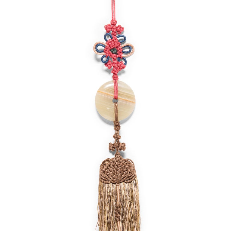 Chinese Silk Tassel with Striped Jade Disc In Good Condition For Sale In Chicago, IL