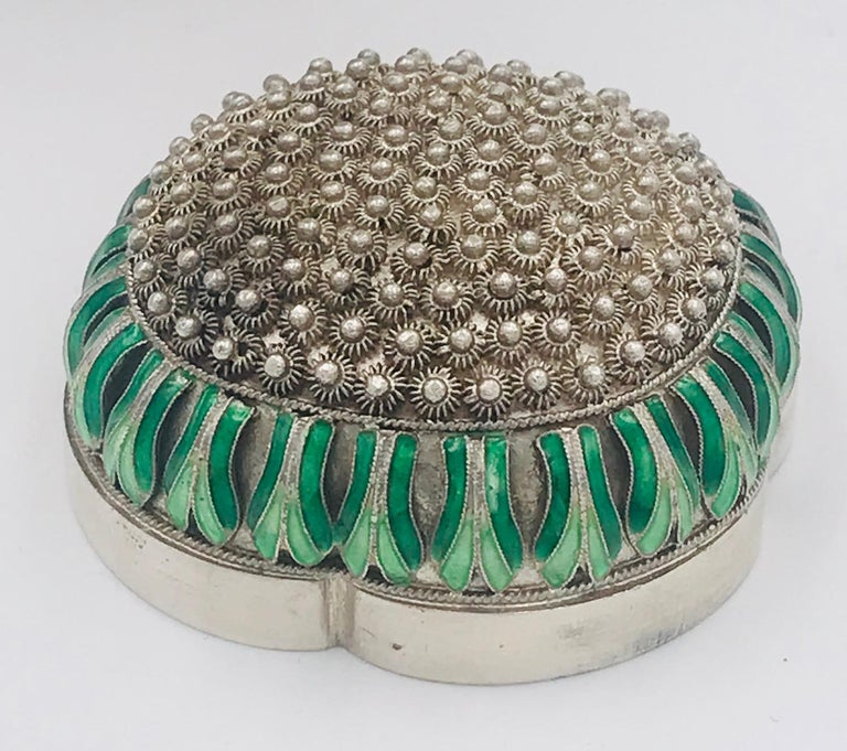 Chinese Silver and Enamel Tea Caddy For Sale 4