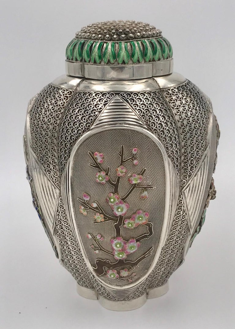 Chinoiserie Chinese Silver and Enamel Tea Caddy For Sale