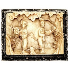 Chinese Silver Filigree and Carved Lady Scene Pin/Brooch