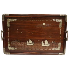 Chinese Silver Inlaid Wood Tray